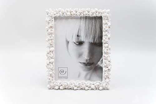 Mascagni Casa Cornice Portafoto Formato 13X18 Colore Bianco A Fantasia Rose 286, Multicolore, 8003426021477