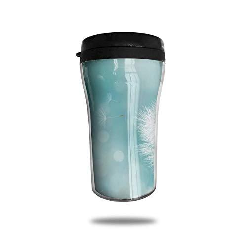 Kaffee Reisebecher Auto Eistee oder Wasserflasche Isolierter Edelstahl Vakuumisolierter Edelstahl Becher Kaffee Reisetasse,Weißer Löwenzahn