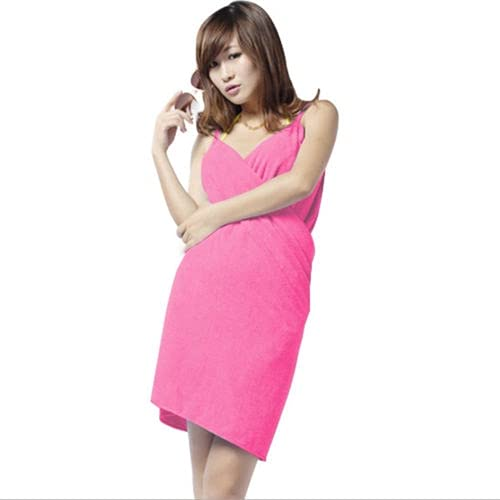IAMZHL Toalla de Microfibra de baño usable para Mujer, Albornoz de Secado rápido, Vestido Envolvente para SPA, Textil para el hogar, Toalla de Secado rápido-Rose red-140X70CM
