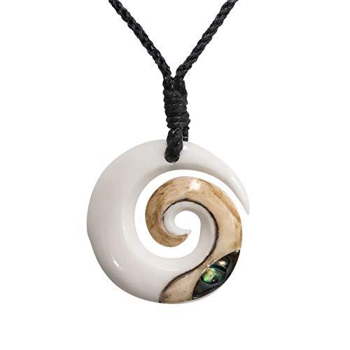 81stgeneration Hueso Tallado A Mano Maorí Koru Espiral Abulón Paua Collar Colgante de Hombre Mujer