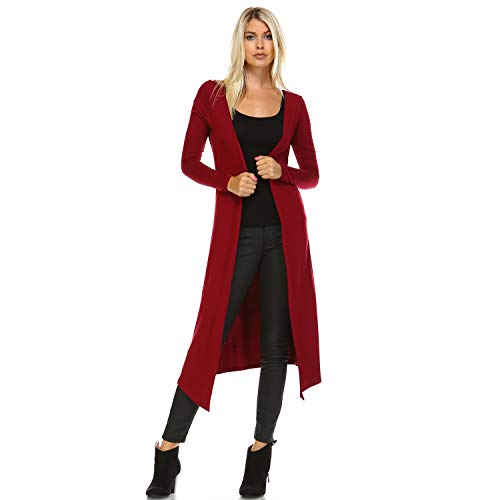 Issac Liev Extra Long Boho Cardigan (Small, Burgundy)