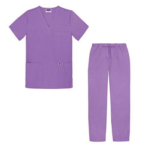 Sivvan Unisex Classic Scrub Set V-Neck Top/Drawstring Pants - S8400 - Lavender - M