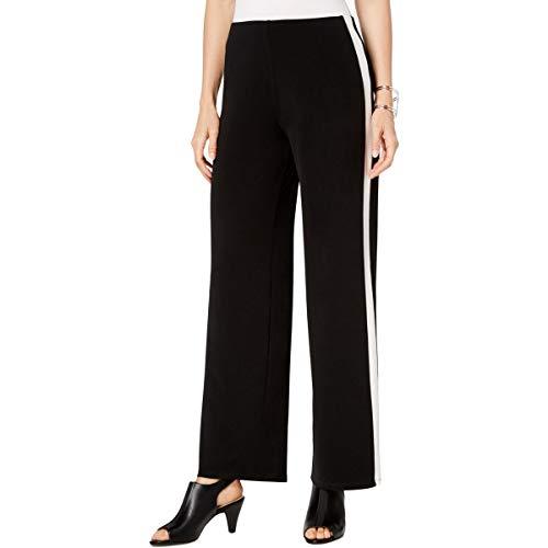 Alfani Womens Wide Leg Striped Pants Black XL