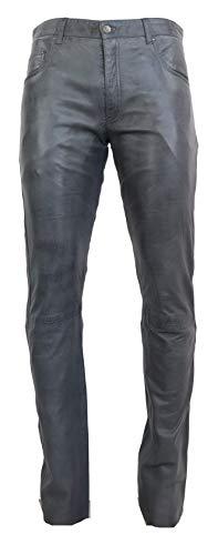 RICANO Slim Fit, Herren Lederhose in 5-Pocket Jeans Optik aus echtem Lamm Nappa Leder (Glattleder)...
