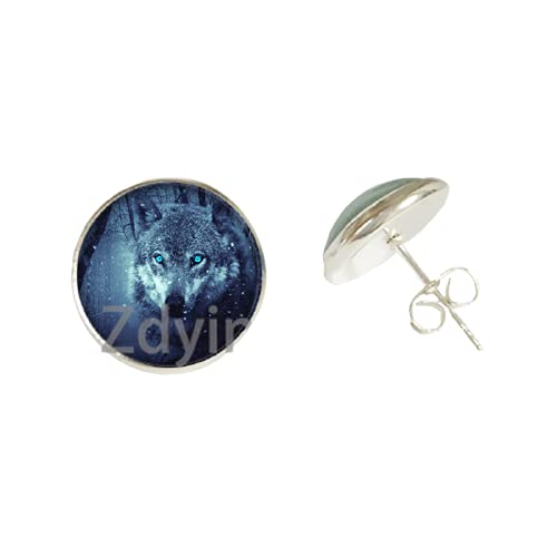 Punk Jewelry - Pendiente de cristal con diseño de lobo para mujer y hombre, para regalo de fiesta