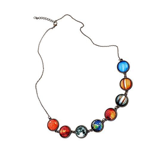Fengyuanhong Donne Galaxy Otto pendente Della collana Della sfera di Donne Girocollo Otto vetro di Planet Universo Choker del Collo dei monili dell'annata