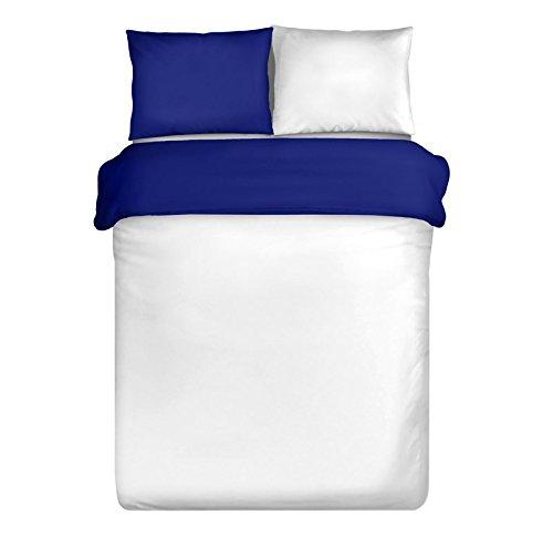 Eurofirany Double Face Parure de lit 155 x 200 cm Blanc Foncé Bleu Mako Satin Coton Set de 3 Satin Deux taies 70 x 80 cm