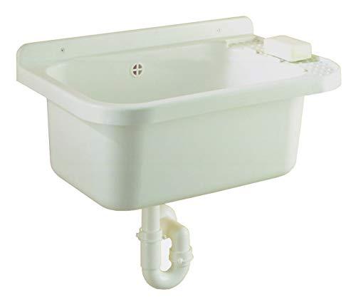 Kunststoff Ausgussbecken Waschbecken Spülbecken Waschtrog inkl. Siphon Ablaufgarnitur 20 oder 35 Liter (35 Liter / 60 x 39 x 27 cm)