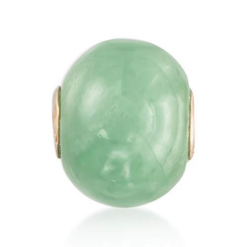 Ross-Simons 16mm Green Jade Bead Pendant in 14kt Yellow Gold For Women
