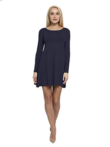 ABAKUHAUS Damen A-Linie Langärmliges Kleid mit Taschen, S, Dunkel blau