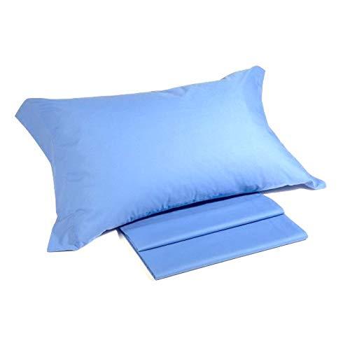 Il Filo BeeYourHome – Juego de sábanas + funda de almohada para cama de 1 plaza y media (bajera con esquinas de 135 x 190 x 20 cm) de puro algodón 100 % fabricado en Italia (Azzurro)