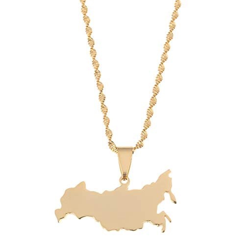Nobrand Edelstahl Gold Farbe Russland Karte Anhänger Halsketten Die Russische Föderation Karte Kette Schmuck