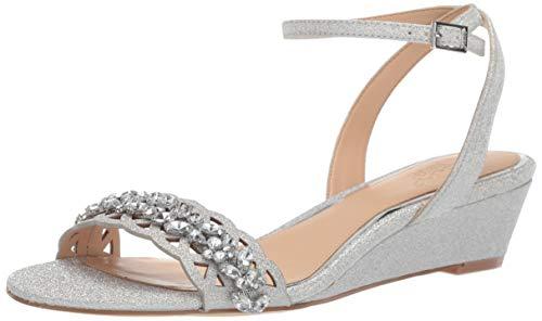 Jewel Badgley Mischka Women's KINDLE Sandal, silver glitter, 7 M US