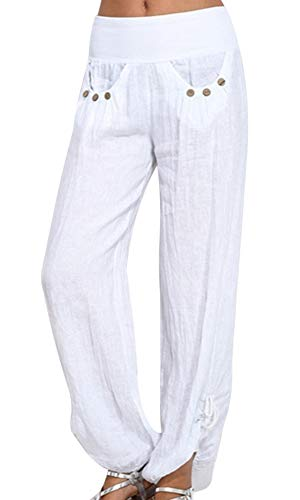 Shujin Damen Sommer Baumwolle Pumphose Lang Elegant Ballonhose Baggy Harem Stil Casual Yogahose Weiche Langehose Pilates Hosen(EU 36/Etikettengröße M)