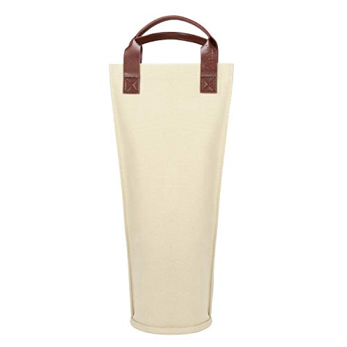 Tirrinia Single Wine Tote Bag, Insulated Padded Thermal Wine Bottle Carrying Cooler Carrier for Travel, Picnic, Perfect Gift for Wine Lover, Canvas Beige