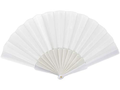 Alsino Handfächer Fächer Hochzeit Flamenco Tanzfächer Stofffächer Taschenfächer Klappfächer Spitzenfächer, Fae-03 Weiß