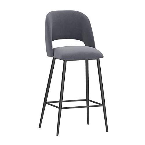 Asiento tapizado en terciopelo con respaldo, patas metálicas negras, silla de cocina para el desayuno (verde/azul/blanco/rosa/gris, 1)
