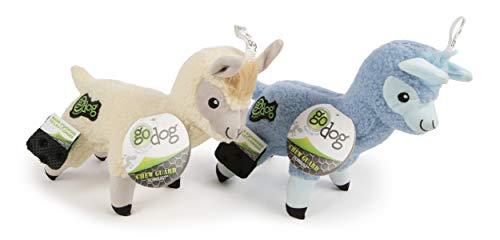 goDog Brinquedo de pelúcia para cães com tecnologia Llama Chew Guard, marfim e azul, grande/2 unidades (pacote com 1)