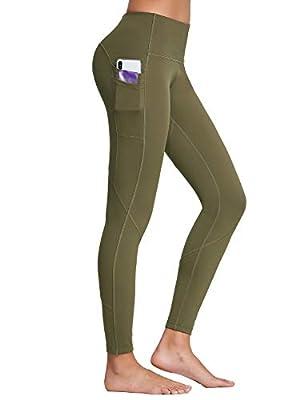"BALEAF 28"" High Waisted Yoga Leggings for Women Multiple Pockets Tummy Control Full Length Workout Pants Deep Olive L"