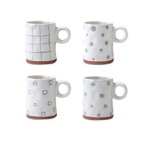 Beverage Mugs Creative Ceramic White Coffee Mugs, Household Porcelain Fluted Mugs - for Coffee, Tea, Cocoa, Set of 4 Coffee Cups