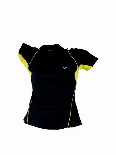 VICTOR Damen Polohemd Black 6030, schwarz/gelb, XL