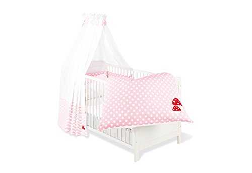 Pinolino 60969-7 - Set für Kinderbett, 4-tlg., 'Glückspilz' rosa