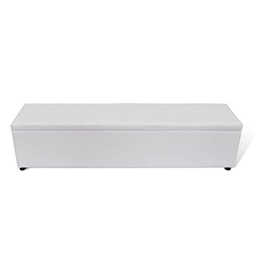 vidaXL Banc de Rangement Blanc Taille L Banquette Coffre Meuble de Rangement