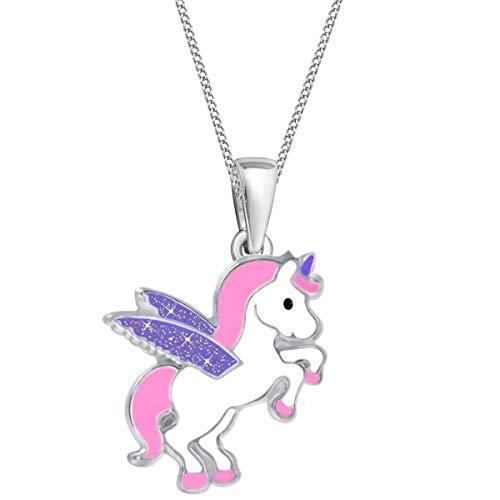 Glitzer Flügel Einhorn Anhänger + Kette 925 Sterling-Silber Mädchen Kinder Pegasus Pferd (Rosa-Lila, 40)