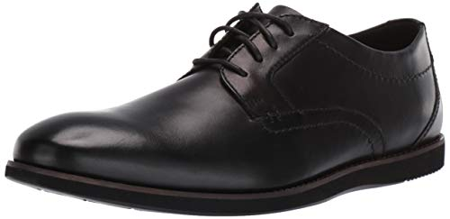 Clarks mens Raharto Plain Oxford, Black Leather, 10 US