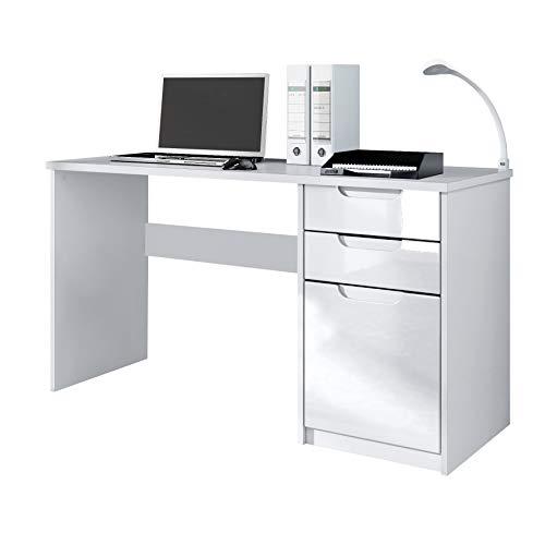 Vladon Schreibtisch Computertisch Büromöbel Logan, Korpus in Weiß matt/Fronten in Weiß Hochglanz