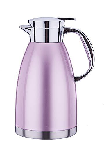 Thermoskanne,Isolierkanne, Kaffeekanne, Kaltgetränkekessel, Haushalt Wasserkrug Flasche, isoliert, doppelwandig, Vakuum-Wasserkocher - silber - 1.8L (Lila, 1800ML)