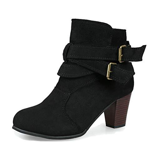 Minetom Damen Ankle Boots Trendige Stiefeletten Blockabsatz Winter Stiefel Mode Casual Elegant Schnalle Schwarz EU 40