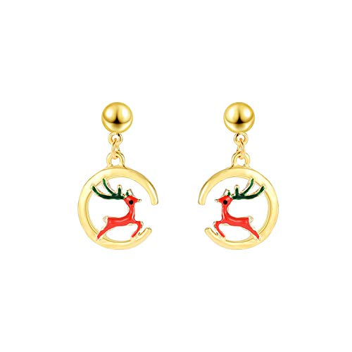 Fasclot Occident Trendy Latest Christmas Ornaments Round Christmas Elk Ladies Earrings