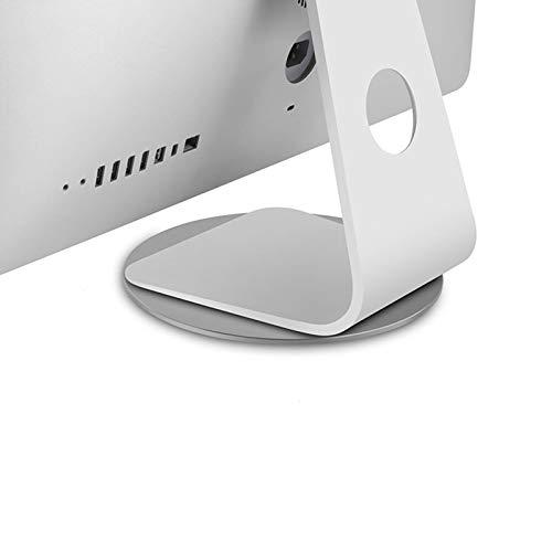 Base giratoria para monitor de rotación de 360 °, soporte giratorio para monitor de pantalla de computadora de aleación de aluminio plateado, base giratoria giratoria para iMac Disply Rotating Mount