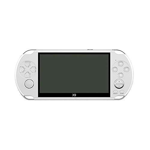 Hwenli Retro Video-Spiele-Konsole, Handheld-Spielkonsole Für Kinder Erwachsene Für PSP VIAT Retro Games 5,0-Zoll-Bildschirm TV-Ausgang Mit MP3-Film-Kamera,Weiß,32G