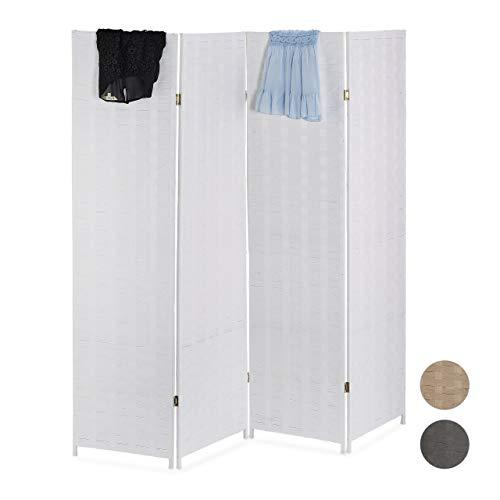 Relaxdays Paravent 4-teilig, faltbarer Raumtrenner, Sichtschutz, Holz & Papierseil, Trennwand, HxB: 180 x 180 cm, weiß, 1 Stück