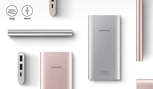 10,000 mAh Samsung Portable Battery with Dual USB Charging Ports, Silver