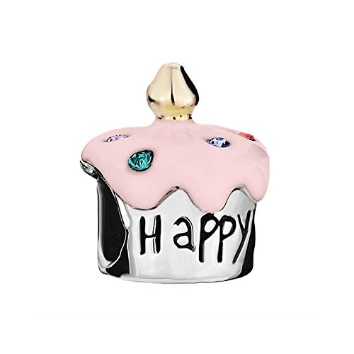 Roy Lopez Happy Birthday Cake Pink Charms Beads for Charm Bracelets