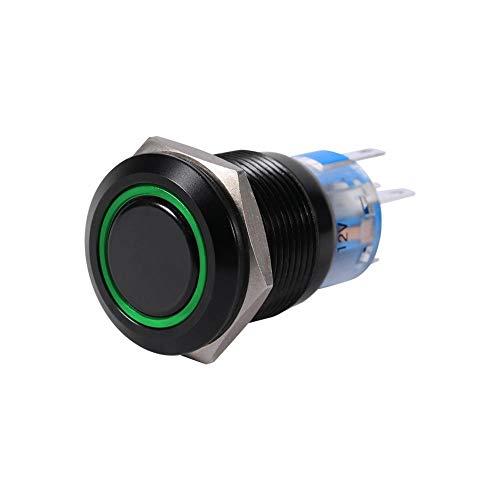 Akozon Interruptor de botón LED de 19 mm, 12 V, Encendido/Apagado, Impermeable, con Cierre automático, botón pulsador, Interruptor Plano(Verde)