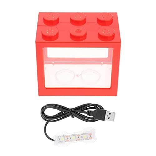 LOVIVER Mini pecera portátil Mini Acuario Bloque de construcción, Tanque de Peces de plástico Decoración de Mesa de té de Oficina - Rojo