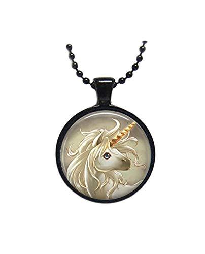 Collar de unicornio con azulejos de cristal, collar de luna y joyería de fantasía, joyería de luna y cristal, joyería negra, joyería de plata