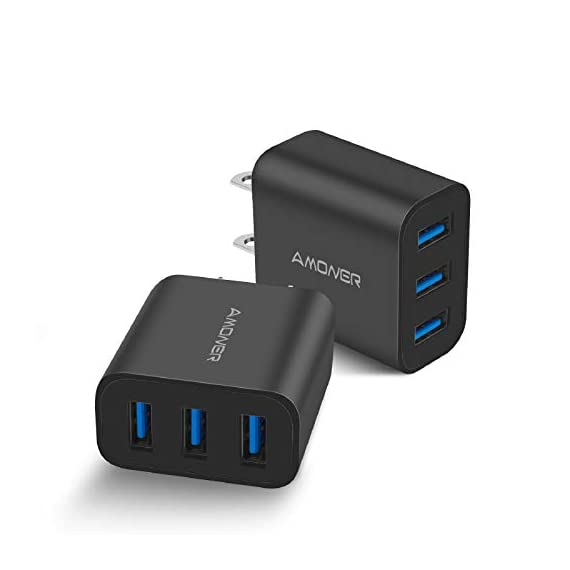 Wall Charger, Amoner Upgraded 2Pack 15W 3-Port USB Plug Cube Portable Wall Charger Plug for iPhone Xs/XS Max/XR/X/8/7/6/Plus, iPad Pro/Air 2/Mini 2, Galaxy9/8/7, Note9/8, LG, Nexus and More 1 Upgraded 15W 3-Port Wall Charger - The upgraded wall charger makes the power output more stable. CE/FCC certificated, built-in safeguards protect your devices against over-current, over voltage and short-circuit Upgraded Charging Technology - With Smart IC technology, the wall charger will automatically detect and provide the fastest possible charging speed up to 2A one port or 3A total Wide Compatibility - This Wall Charger can be used as iPhone wall charger, compatible with iPhone Xs,Xs Max, Xr, X, 8, 7, 6 Plus, Samsung Galaxy S10/S9/S8/Plus/S7/Note 8/9/7, Moto Z2/Z Force, LG V20/V30/G7/G6/G5, Lumia 950 & XL, Google Pixel 3/2 & XL; Kindles and more