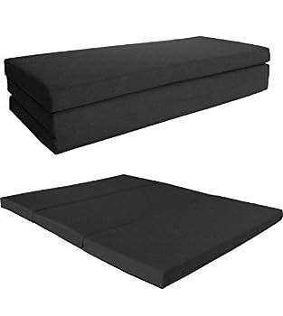 D&D Futon Furniture Queen Black Shikibuton Trifold Foam Beds 4 X 60 X 80 1.8 lbs high Density Resilient White Foam Floor Foam Folding Mats Floor Seat Meditation Yoga
