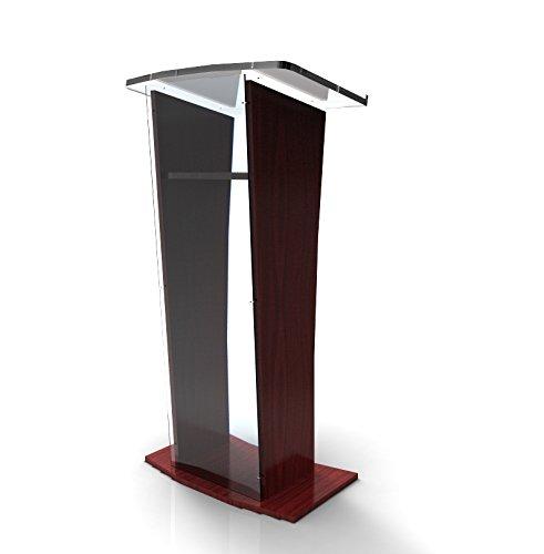 FixtureDisplays Acrylic/Podium/Lectern/Pulpit/Plexiglass/Lucite/Clear 1803-5 Wood Shelf Frame - Ship UNASSEMBLED/Flat 1803-5-APLE-NF No