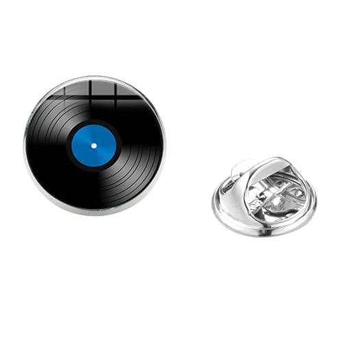 Vinilos grabadores de reproductor de discos vintage de cristal cúpula foto música amante insignia de acero inoxidable broches ropa accesorios