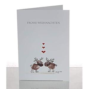 Weihnachtskarte – Rentiere in Love – lustig – handmade