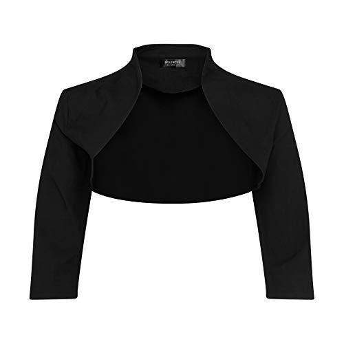 BOLEROSE 3/4 Sleeve Formal Tailored Bolero Shrug (Black, US 20)
