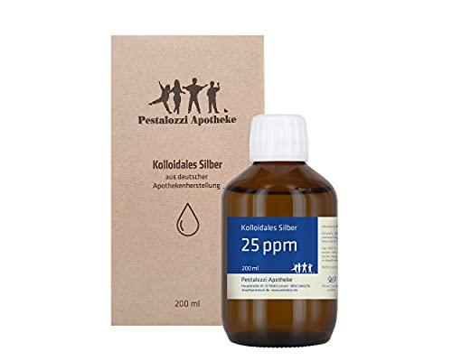 Kolloidales Silber 25ppm (200 ml) aus Apotheken-Herstellung - 100 % natürliches, kolloidales Silberwasser, ohne chemische Zusatzstoffe, Inhalt: 200 ml