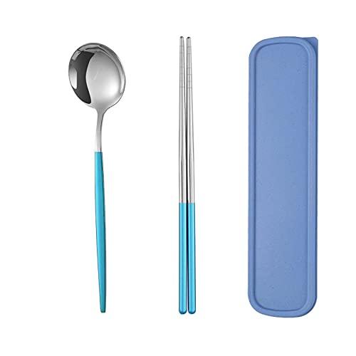 Juego de 2 palillos cuchara Set de utensilios de viaje de acero inoxidable con bolsa para camping hogar (plata azul)