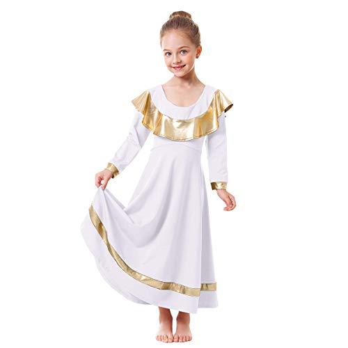 Little Big Girls Ruffle Metallic Gold Color Block Praise Dance Dresses Kids Long Sleeve Liturgical Lyrical Worship Dress Loose Fit Full Length Maxi Tunic Circle Skirt Dancewear Costume White 7-8Y
